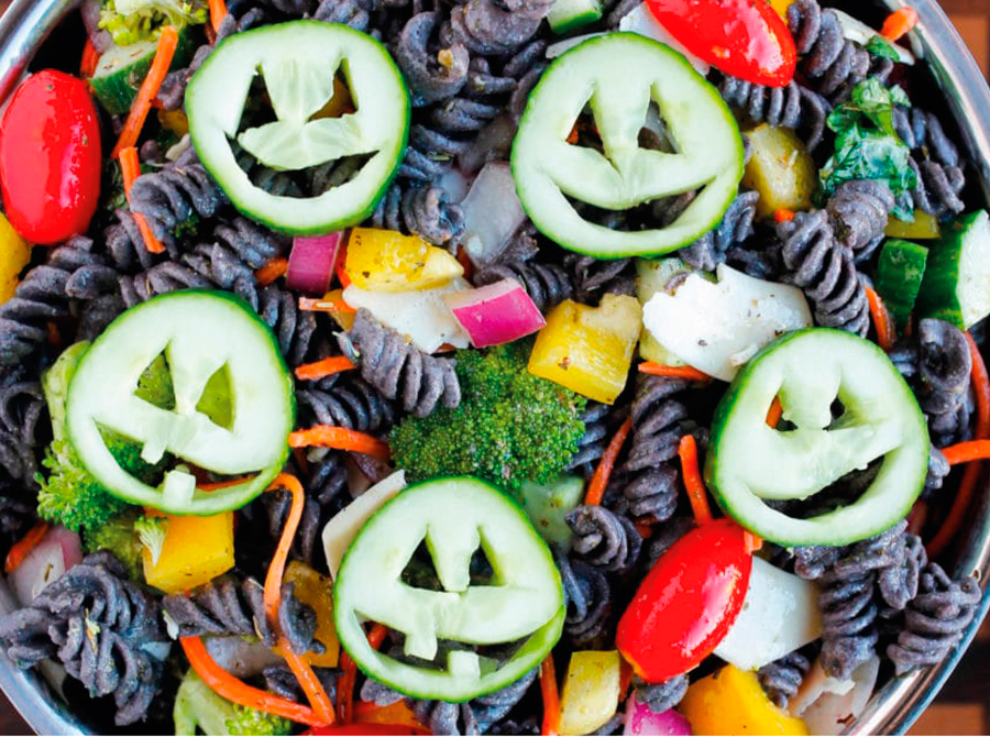halloweenfood, food, halloween, inspiración halloween, inspiration halloween, decoración halloween, decoración, deco, party, fiesta, fiesta halloween, healthy halloween pasta salad